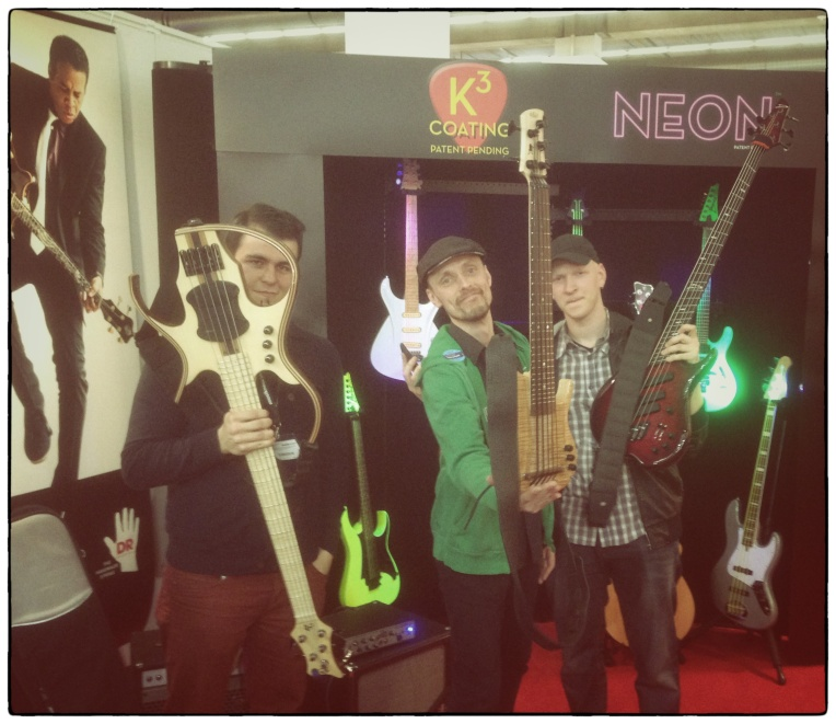 Christoffer Bolte, me and Or Lubianiker at the DR Strings booth