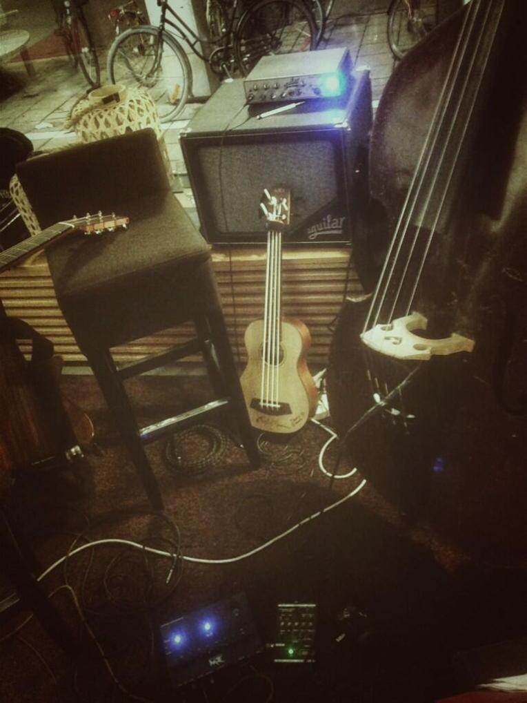 "A trio of basses - all fretless :-) Rob Allen MB-2, my trusty spruce Kala UBass and ""Roy"" a Czech upright from ca 1950."
