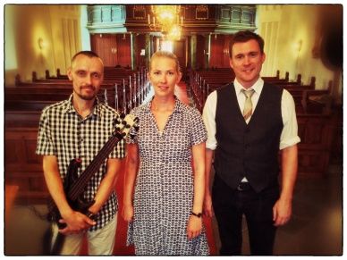 Magnus, Josefin and Peter after the gig.