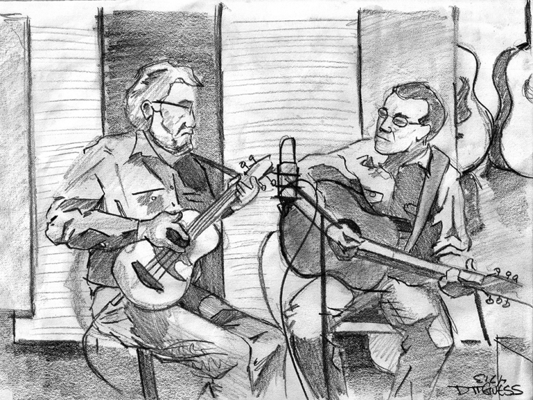 The Ridgewood Boys, Rick och Ubass, vocals and his son Chris on guitar, banjo and vocals