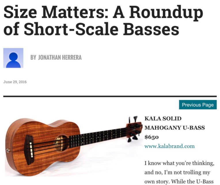 Bass Player Magazine listed the acoustic uBass in an online roundup of short scale basses.